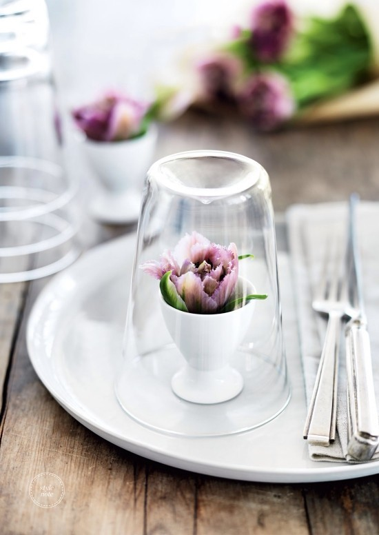 Beautiful spring flowers colored accents festive table decoration