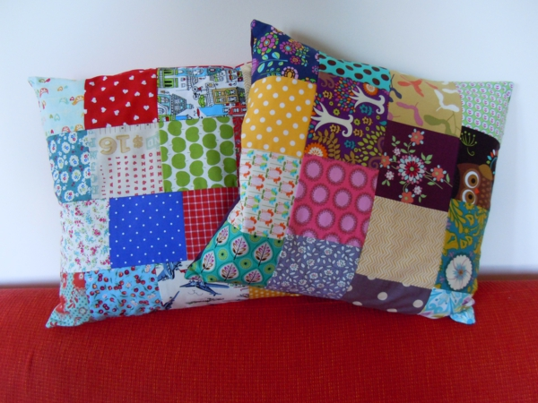 patchwork fabric fresh throw pillow deco ideas