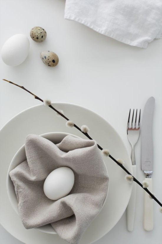 Minimalist table decoration easter white