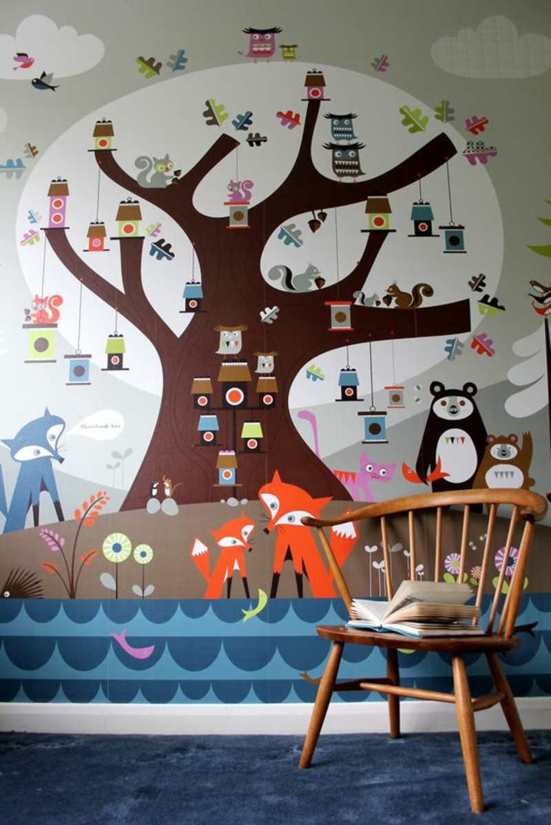 Pattern wallpaper tree wallpaper for kids room design