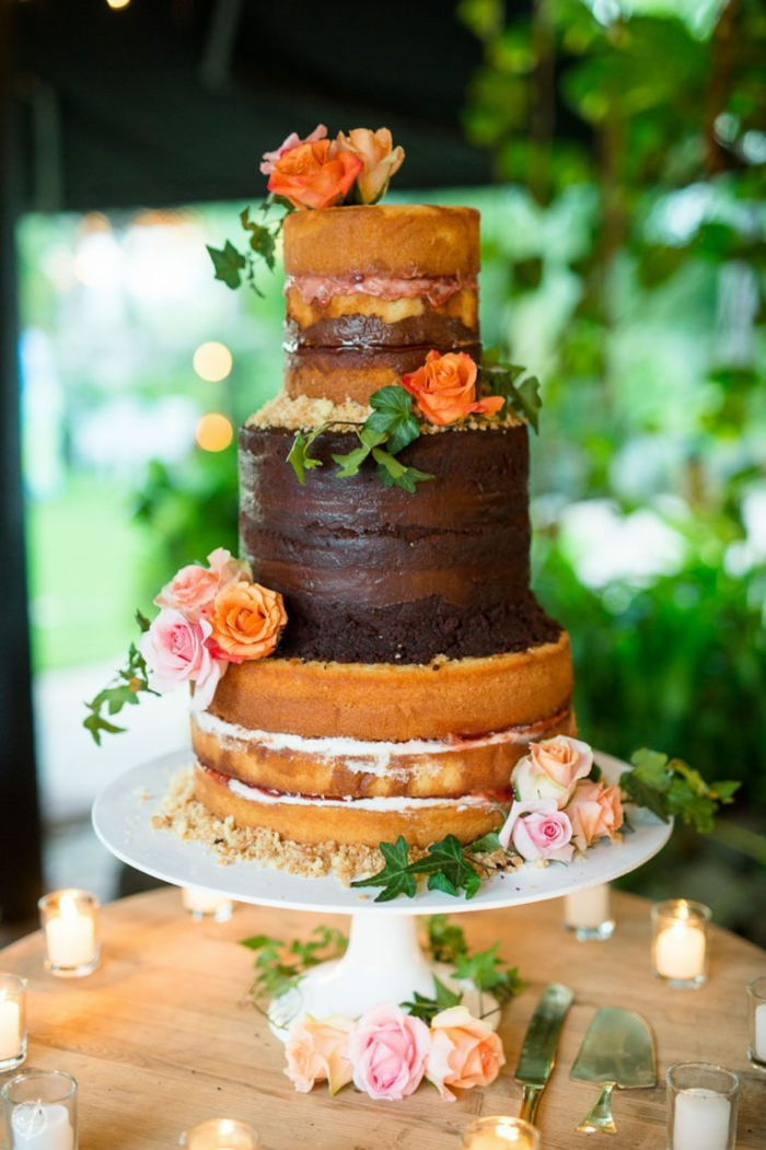 bohemian wedding cake rustic with chocolate and real roses