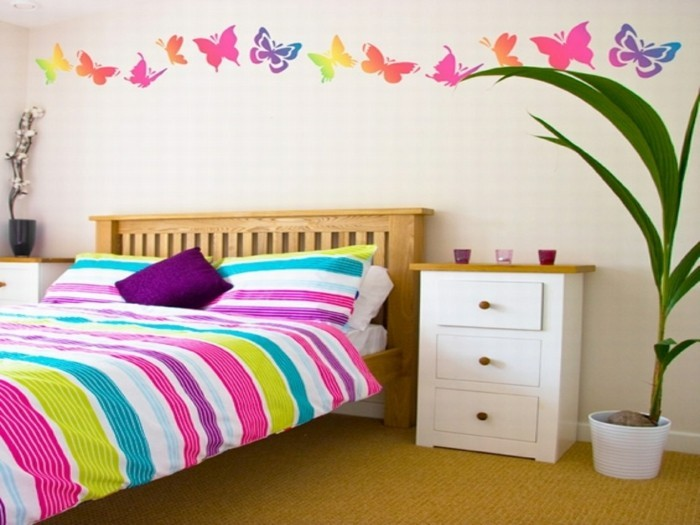 wall decoration ideas girl room colored bedding stripes butterflies
