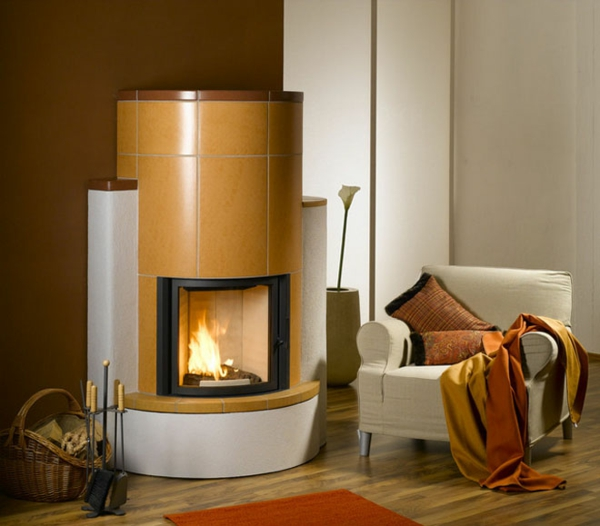 round tiled stove cool living fireplace stove yellow tiles