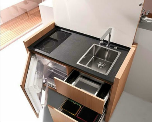 Mobile modular mini kitchen wood sink cooker