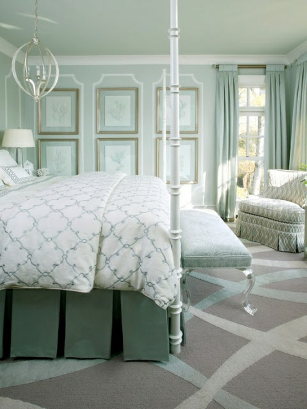 mint green wall color light color scheme of the bedroom