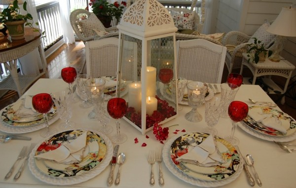 Christmas table decoration beautiful fabrics