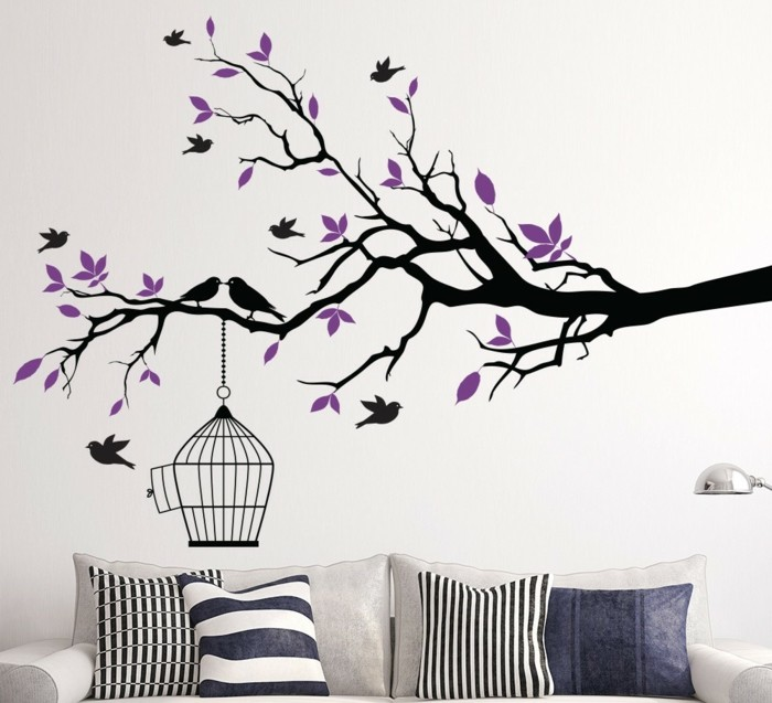 beautiful wall decals tree branches birds throw pillow living ideas living room