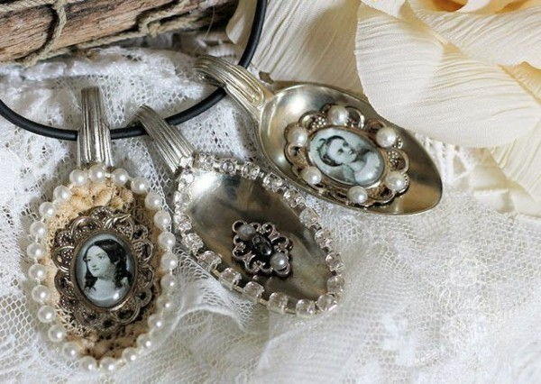beautiful shabby chic deco itself make old silver spoon photos beads