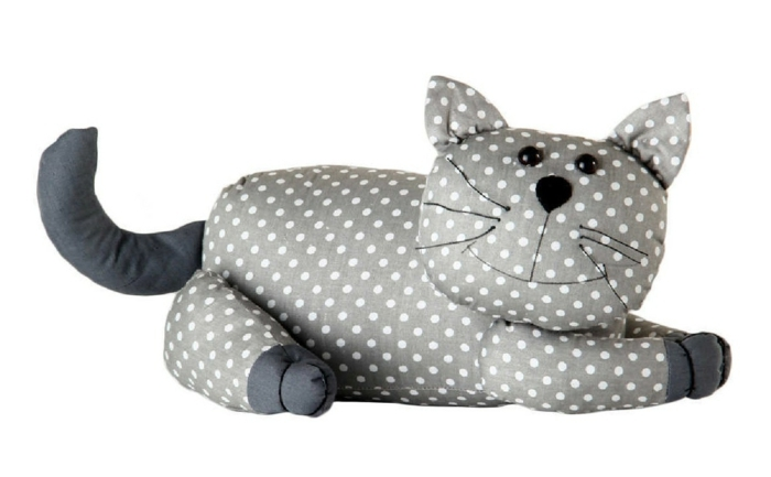 doorstop cat dotted gray white stuffed animal casaylienzo.es