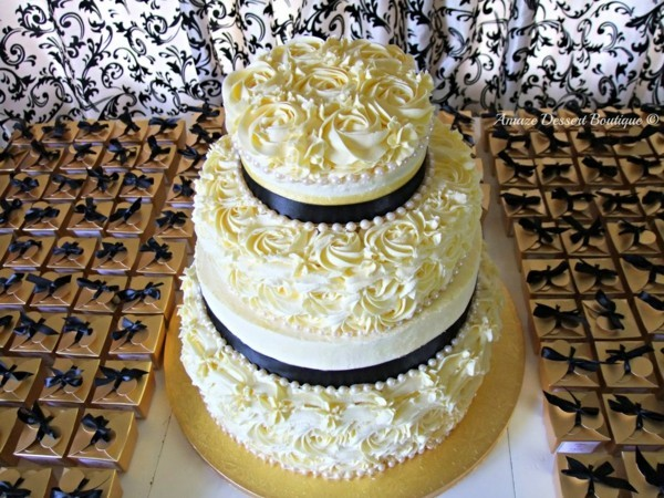 Wedding cakes cream and black accents