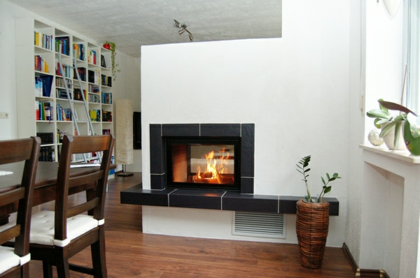 fireplaces and tiled stoves partition wooden floor house library dining area