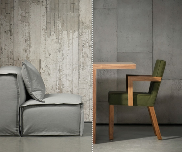 Wall color matching seating furniture concrete look chairs armchair
