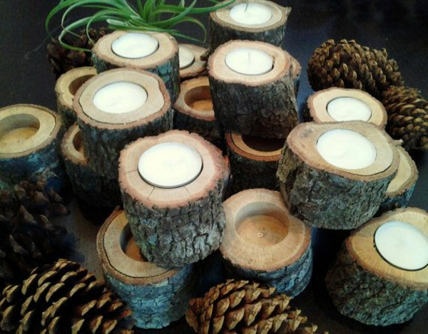 tree trunk deco diy candlestick build yourself
