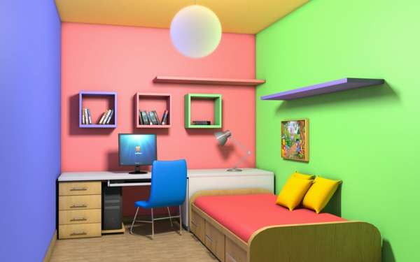 children's room interesting color combination wall design
