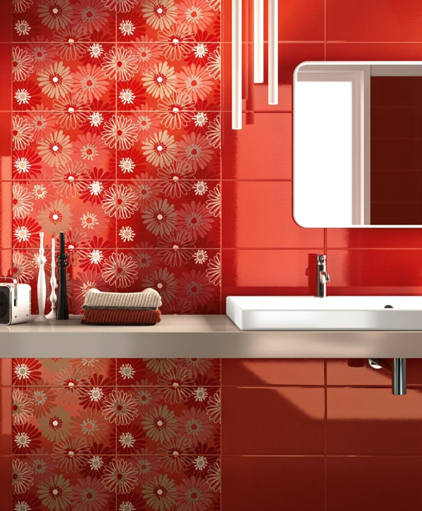 red tiles for the bathroom floral elements