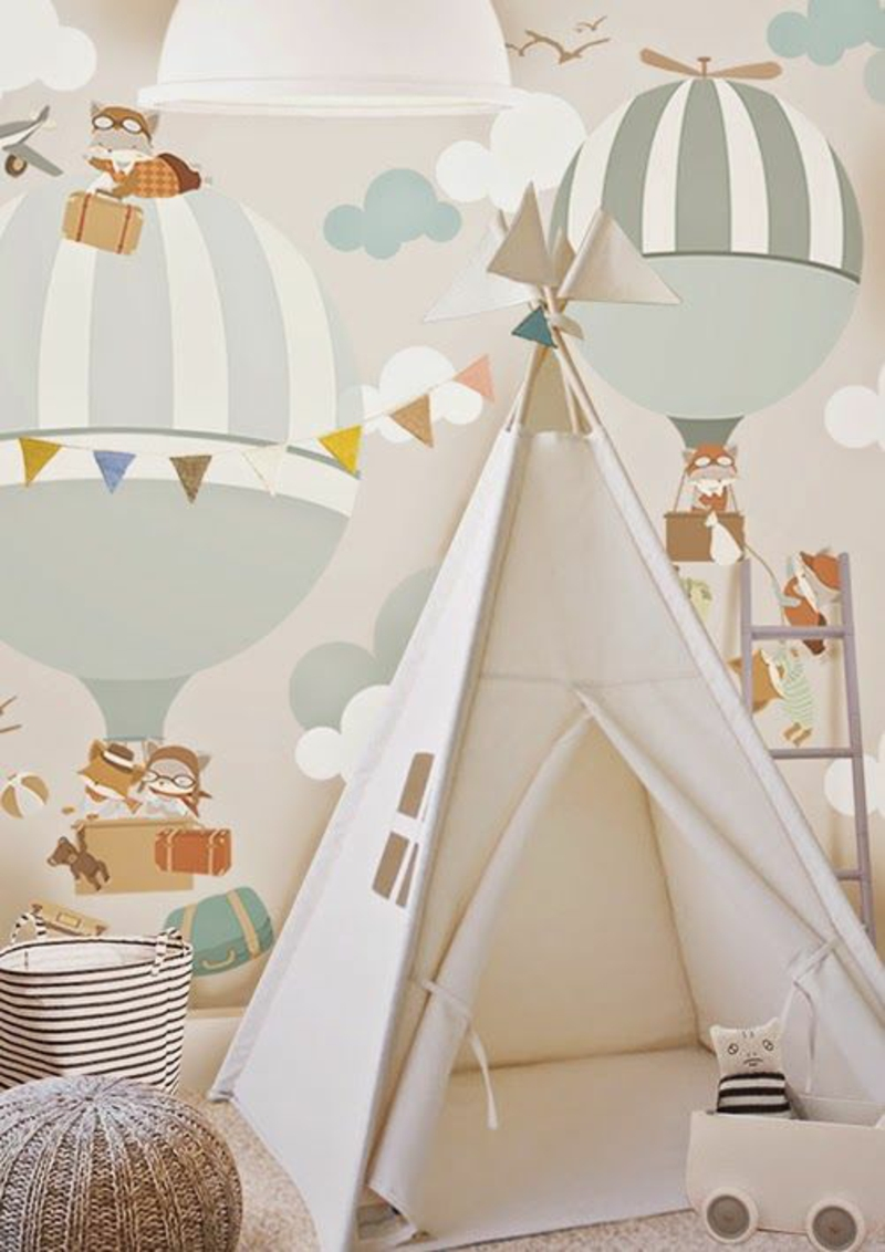 Wallpaper nursery gas balloon clouds tent