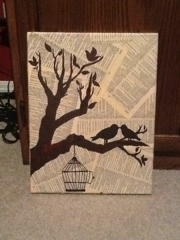 Diy canvas printing branches cage newspapers