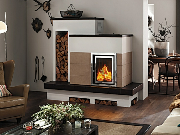 hark tiled stoves open living area shape wall design firewood