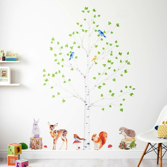 wall decals tree nursery wall deco ideas forest animals tree
