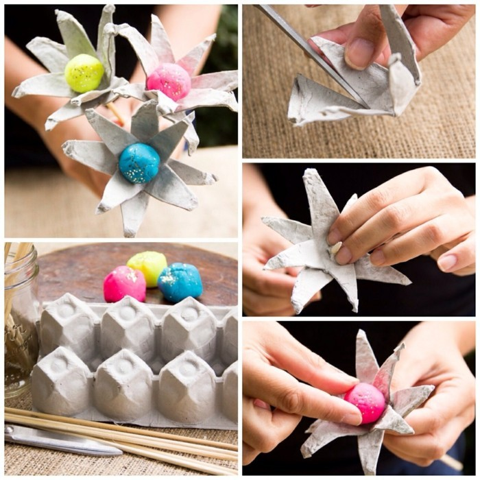 tinkering with egg box tinkering with children tinkering with paper towels flowers white