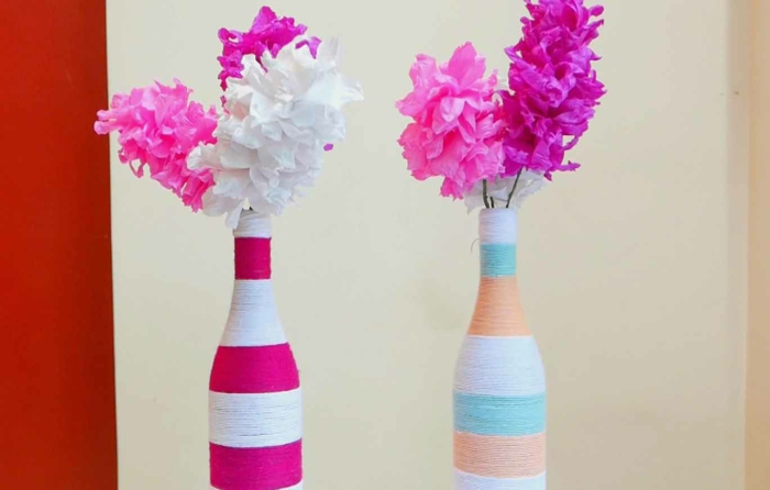 deco bottles thread decorate flowers stuck