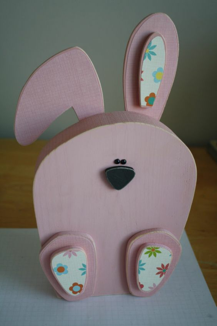 Wooden Easter decoration Deco products Easter decoration Ideas Easter Bunny pink