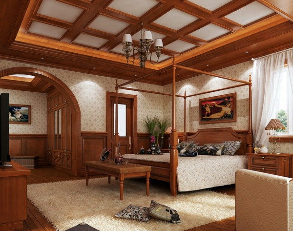 Bedroom furniture ceiling paneling to attach wooden ceiling