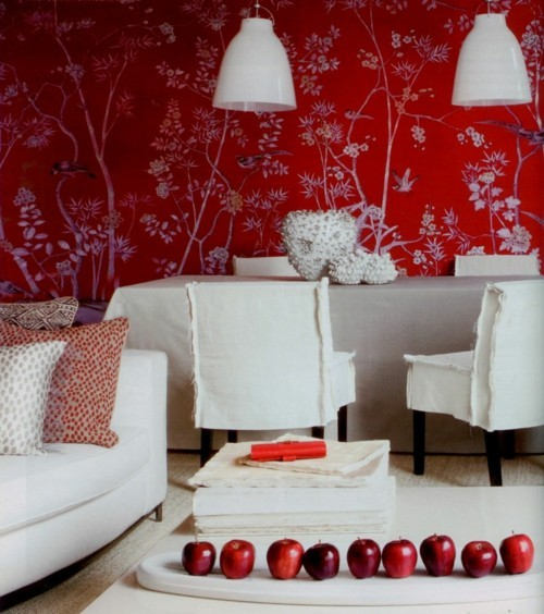 patterned wallpaper bright red ideas