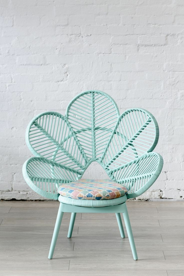 child chair flower design color mint green