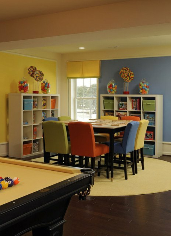 charming children's areas for learning table colorful chair red blue shelves candy billiard table