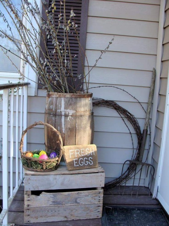 Easter decoration for outdoors in a rustic style