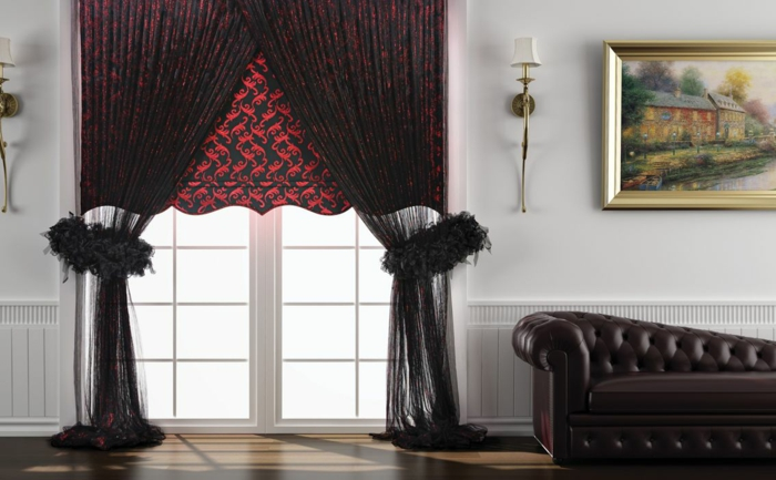 curtains fabrics drapes curtains black red tendril tulle leather sofa