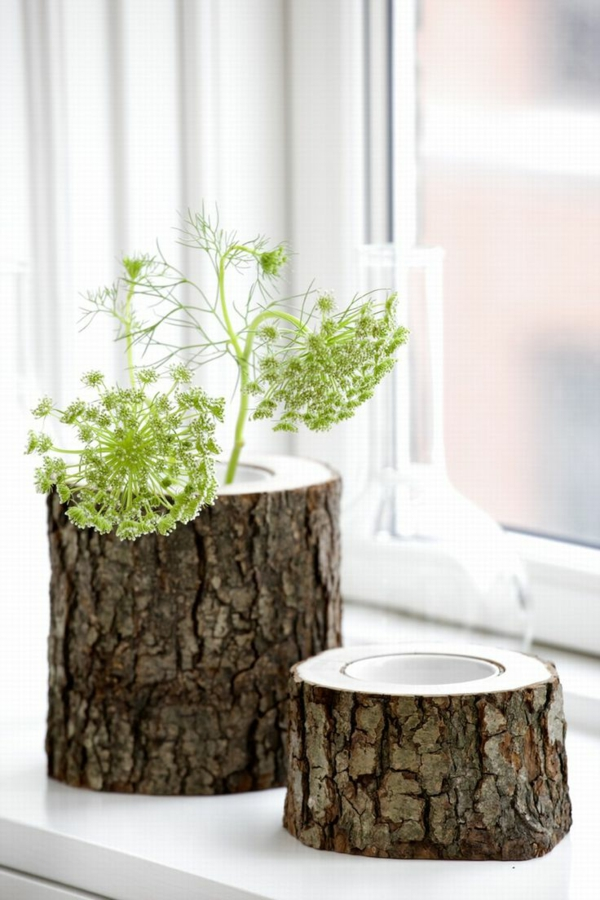 tree trunk deco diy flower pot build yourself