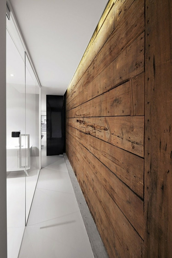 Wooden wall laying the panels