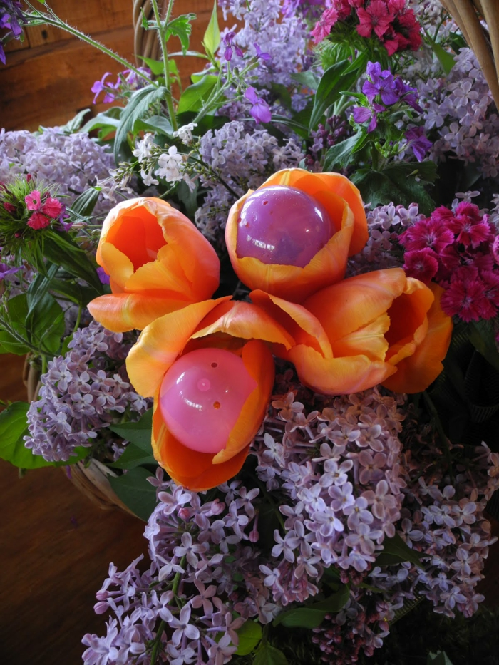 easter decoration colored easter eggs plastic flowers