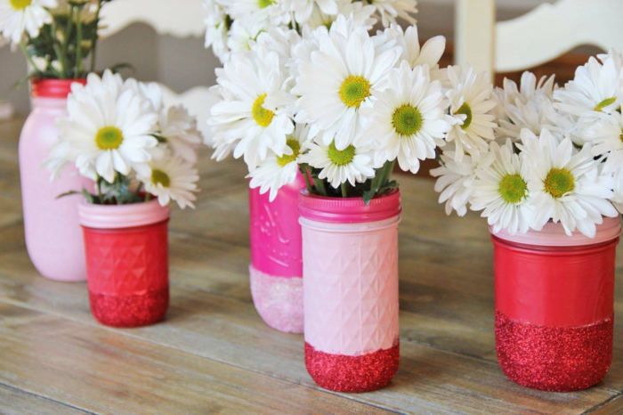 deco flowers vases diy ideas pink red