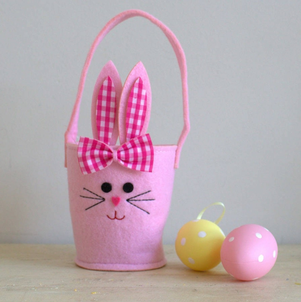easter decoration pink easter basket easter bunny decor ideas