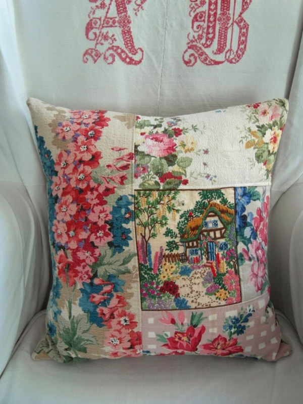 country style furnishing throws colored flowers