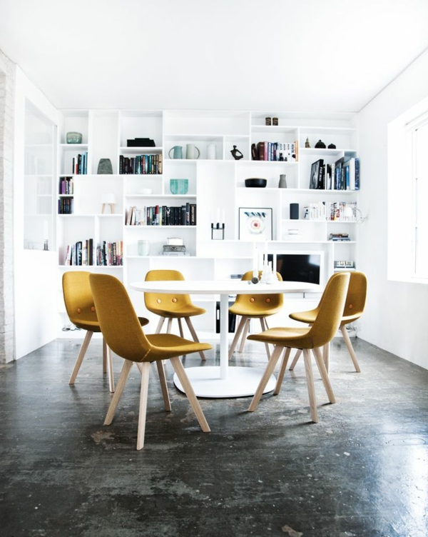 color palette winter type dining room yellow chairs