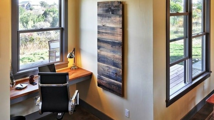 Wall decoration from wood workplace