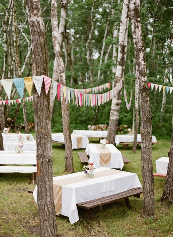 Seating in the forest. Wedding outside