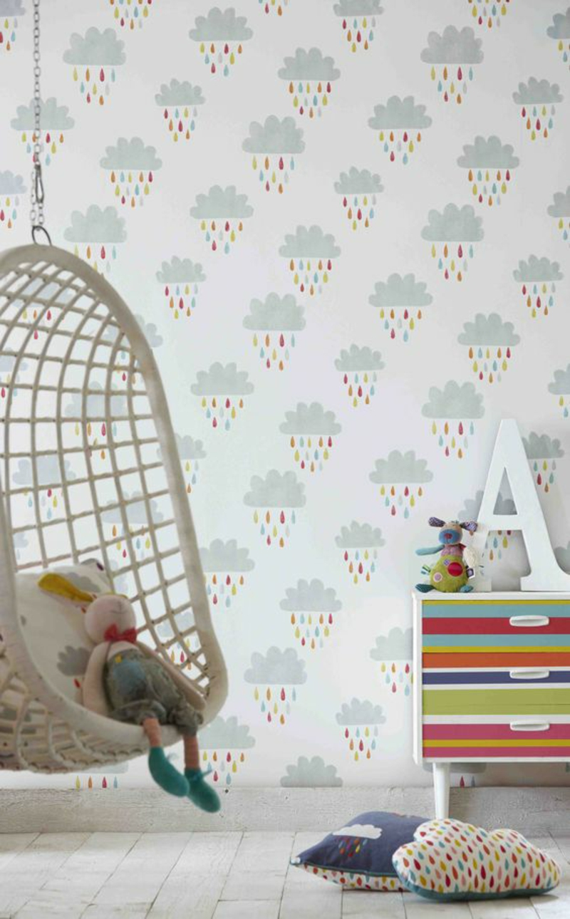 Pattern wallpaper rain clouds wallpaper for kids room design