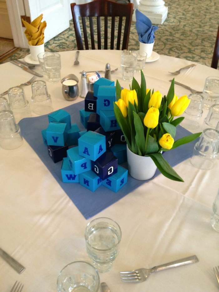 Table Decoration In Blue For Weddings Anniversaries And Other