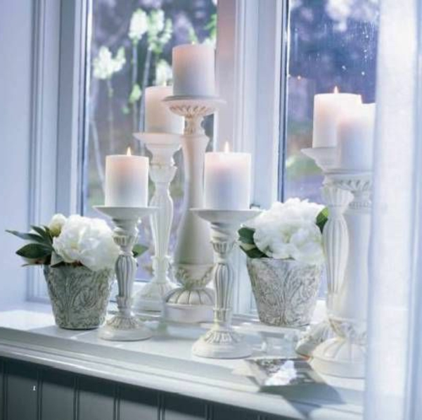 windowsill deco candles plants beautiful living ideas