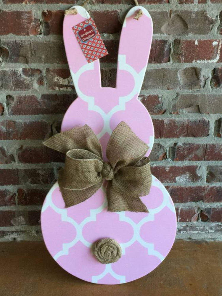 Easter wooden decoration Easter bunny in white pink
