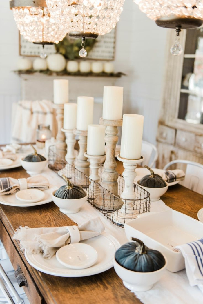 table decoration ideas with pumpkins in bowls