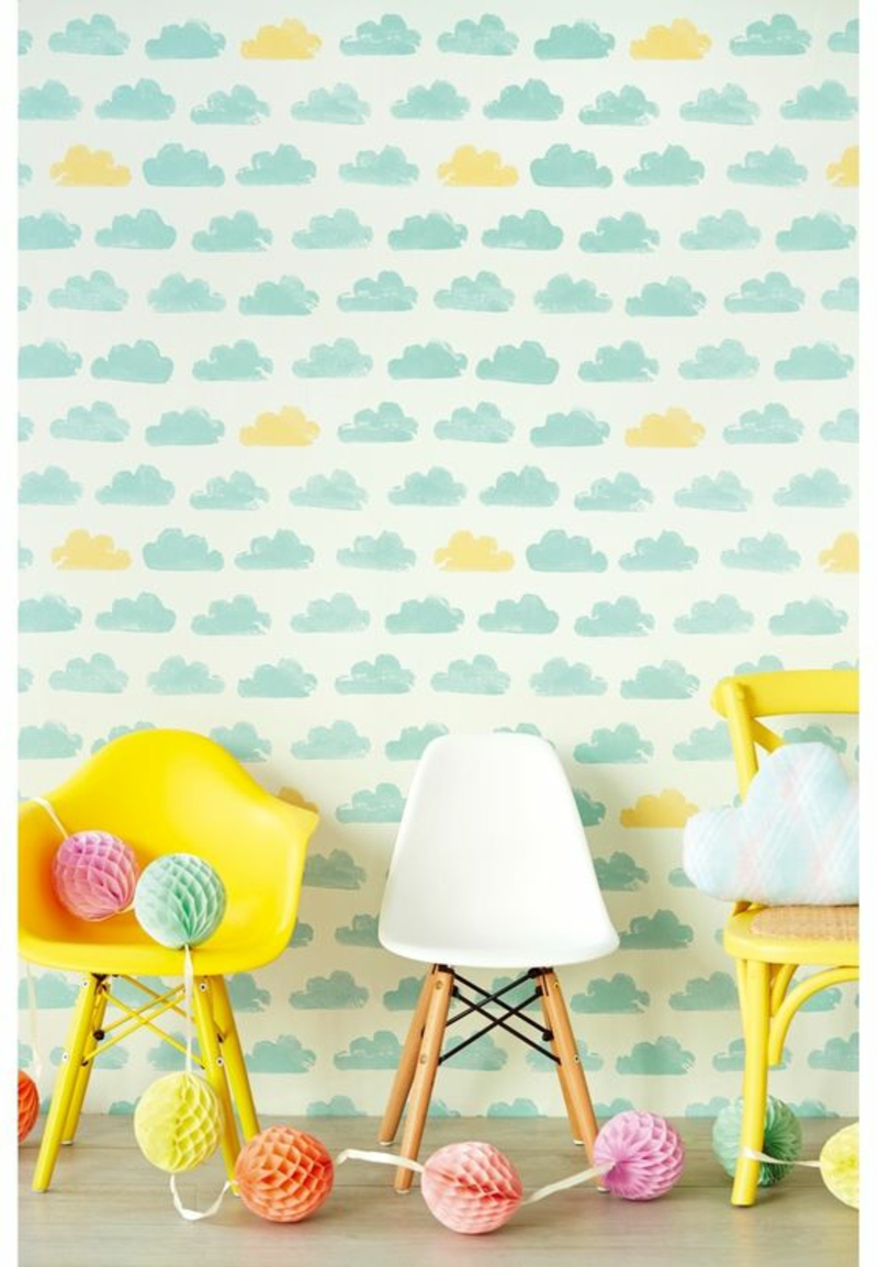 Wallpaper nursery Woklenmuster blue yellow