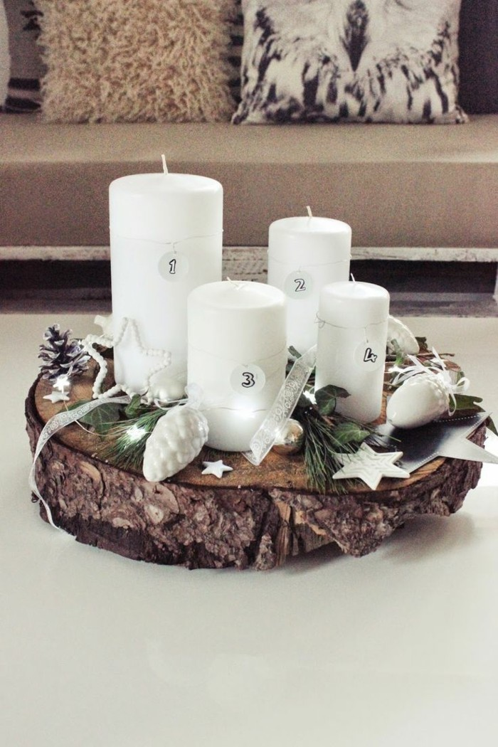 Tree trunk thin with white candles