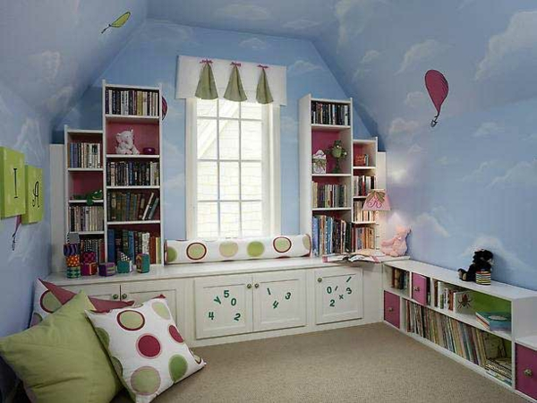 shelves for children's rooms with sloping roof