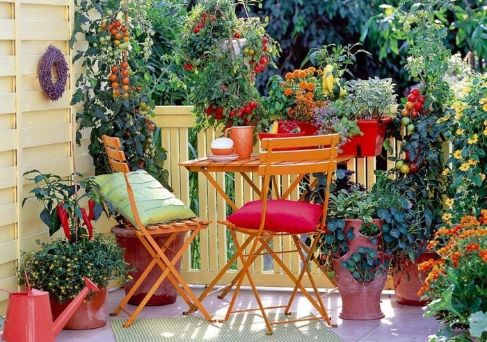 balcony planting pots colorful